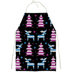 Blue and pink reindeer pattern Full Print Aprons