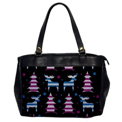 Blue and pink reindeer pattern Office Handbags