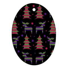Reindeer magical pattern Oval Ornament (Two Sides)