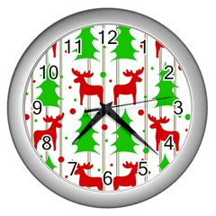 Reindeer elegant pattern Wall Clocks (Silver)