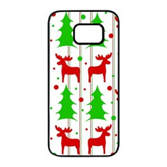 Reindeer elegant pattern Samsung Galaxy S7 edge Black Seamless Case