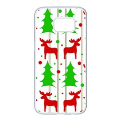 Reindeer elegant pattern Samsung Galaxy S7 edge White Seamless Case