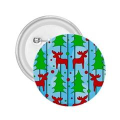 Xmas reindeer pattern - blue 2.25  Buttons