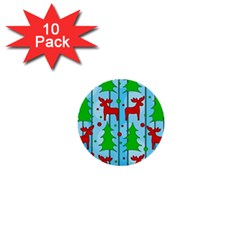 Xmas reindeer pattern - blue 1  Mini Buttons (10 pack)