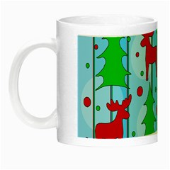 Xmas reindeer pattern - blue Night Luminous Mugs