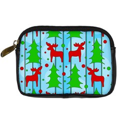 Xmas reindeer pattern - blue Digital Camera Cases