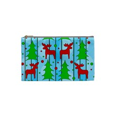 Xmas reindeer pattern - blue Cosmetic Bag (Small)