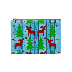 Xmas reindeer pattern - blue Cosmetic Bag (Medium)