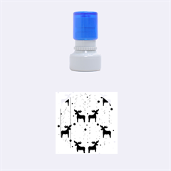 Xmas Reindeer Pattern   Blue Rubber Round Stamps (small)