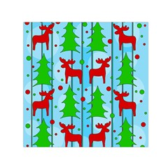 Xmas reindeer pattern - blue Small Satin Scarf (Square)