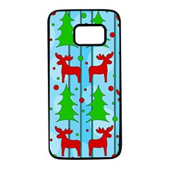 Xmas reindeer pattern - blue Samsung Galaxy S7 Black Seamless Case