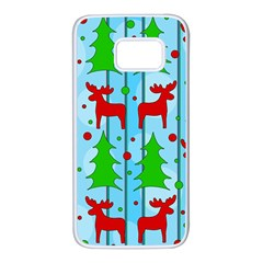 Xmas Reindeer Pattern   Blue Samsung Galaxy S7 White Seamless Case