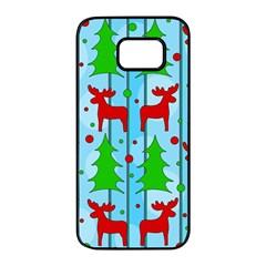 Xmas reindeer pattern - blue Samsung Galaxy S7 edge Black Seamless Case