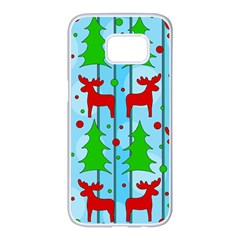 Xmas Reindeer Pattern   Blue Samsung Galaxy S7 Edge White Seamless Case