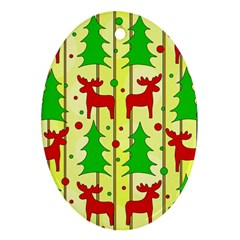 Xmas reindeer pattern - yellow Oval Ornament (Two Sides)