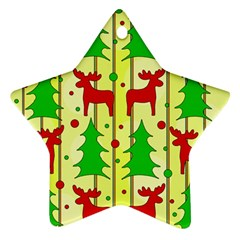 Xmas reindeer pattern - yellow Star Ornament (Two Sides)