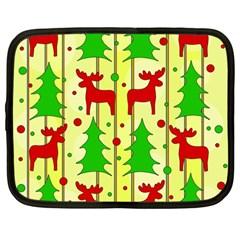 Xmas reindeer pattern - yellow Netbook Case (Large)