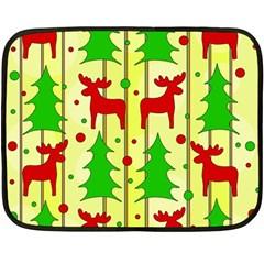 Xmas reindeer pattern - yellow Double Sided Fleece Blanket (Mini)