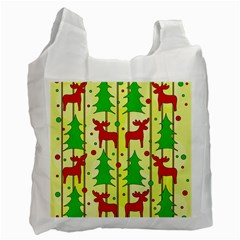 Xmas reindeer pattern - yellow Recycle Bag (One Side)