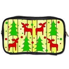 Xmas reindeer pattern - yellow Toiletries Bags