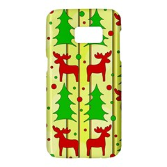 Xmas reindeer pattern - yellow Samsung Galaxy S7 Hardshell Case