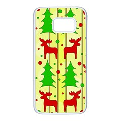 Xmas reindeer pattern - yellow Samsung Galaxy S7 White Seamless Case