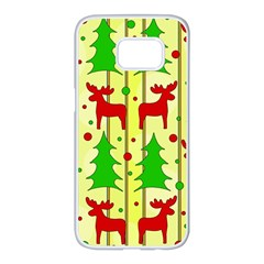 Xmas reindeer pattern - yellow Samsung Galaxy S7 edge White Seamless Case