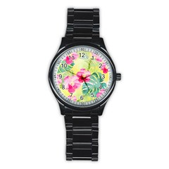 Tropical Dream Hibiscus Pattern Stainless Steel Round Watch