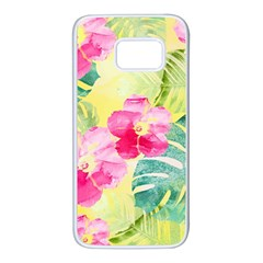 Tropical Dream Hibiscus Pattern Samsung Galaxy S7 White Seamless Case