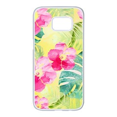 Tropical Dream Hibiscus Pattern Samsung Galaxy S7 Edge White Seamless Case
