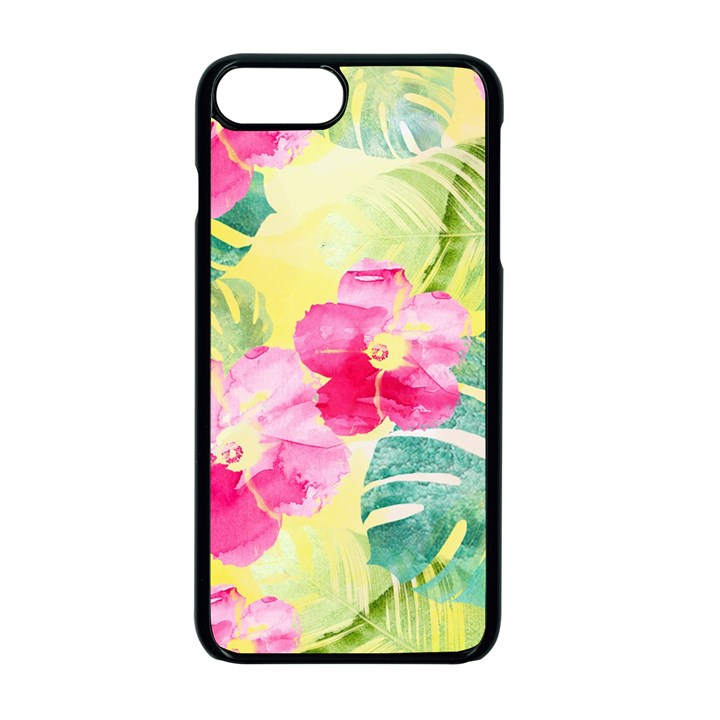 Tropical Dream Hibiscus Pattern Apple iPhone 7 Plus Seamless Case (Black)