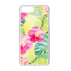 Tropical Dream Hibiscus Pattern Apple Iphone 7 Plus White Seamless Case