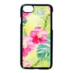 Tropical Dream Hibiscus Pattern Apple iPhone 7 Seamless Case (Black) Front