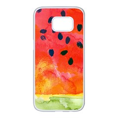 Abstract Watermelon Samsung Galaxy S7 Edge White Seamless Case