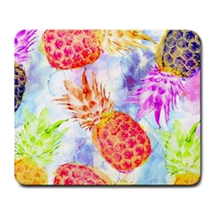 Colorful Pineapples Over A Blue Background Large Mousepads