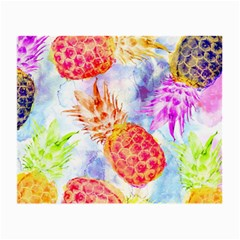 Colorful Pineapples Over A Blue Background Small Glasses Cloth (2 Side)