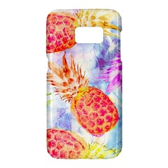 Colorful Pineapples Over A Blue Background Samsung Galaxy S7 Hardshell Case