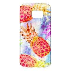 Colorful Pineapples Over A Blue Background Samsung Galaxy S7 Edge Hardshell Case