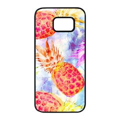 Colorful Pineapples Over A Blue Background Samsung Galaxy S7 edge Black Seamless Case