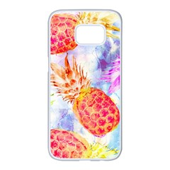 Colorful Pineapples Over A Blue Background Samsung Galaxy S7 Edge White Seamless Case