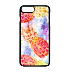 Colorful Pineapples Over A Blue Background Apple Iphone 7 Plus Seamless Case (black)