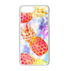 Colorful Pineapples Over A Blue Background Apple Iphone 7 Plus White Seamless Case