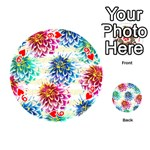 Colorful Dahlias Playing Cards 54 (Round)  Front - Heart9