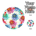 Colorful Dahlias Playing Cards 54 (Round)  Front - HeartK