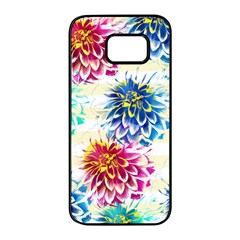Colorful Dahlias Samsung Galaxy S7 Edge Black Seamless Case