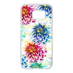 Colorful Dahlias Samsung Galaxy S7 Edge White Seamless Case