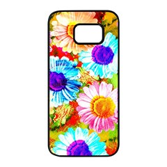 Colorful Daisy Garden Samsung Galaxy S7 Edge Black Seamless Case