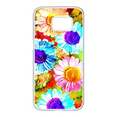 Colorful Daisy Garden Samsung Galaxy S7 Edge White Seamless Case