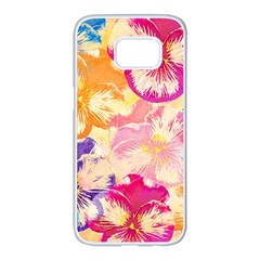 Colorful Pansies Field Samsung Galaxy S7 Edge White Seamless Case
