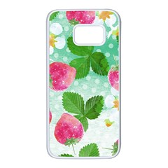 Cute Strawberries Pattern Samsung Galaxy S7 White Seamless Case